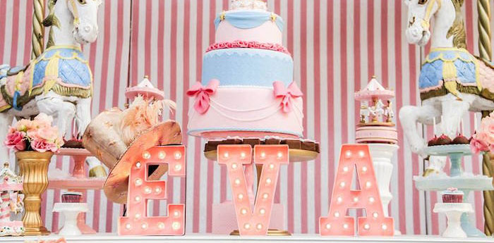 Sweet Table Details from a Vintage Carousel Birthday Party via Kara's Party Ideas - KarasPartyIdeas.com (1)