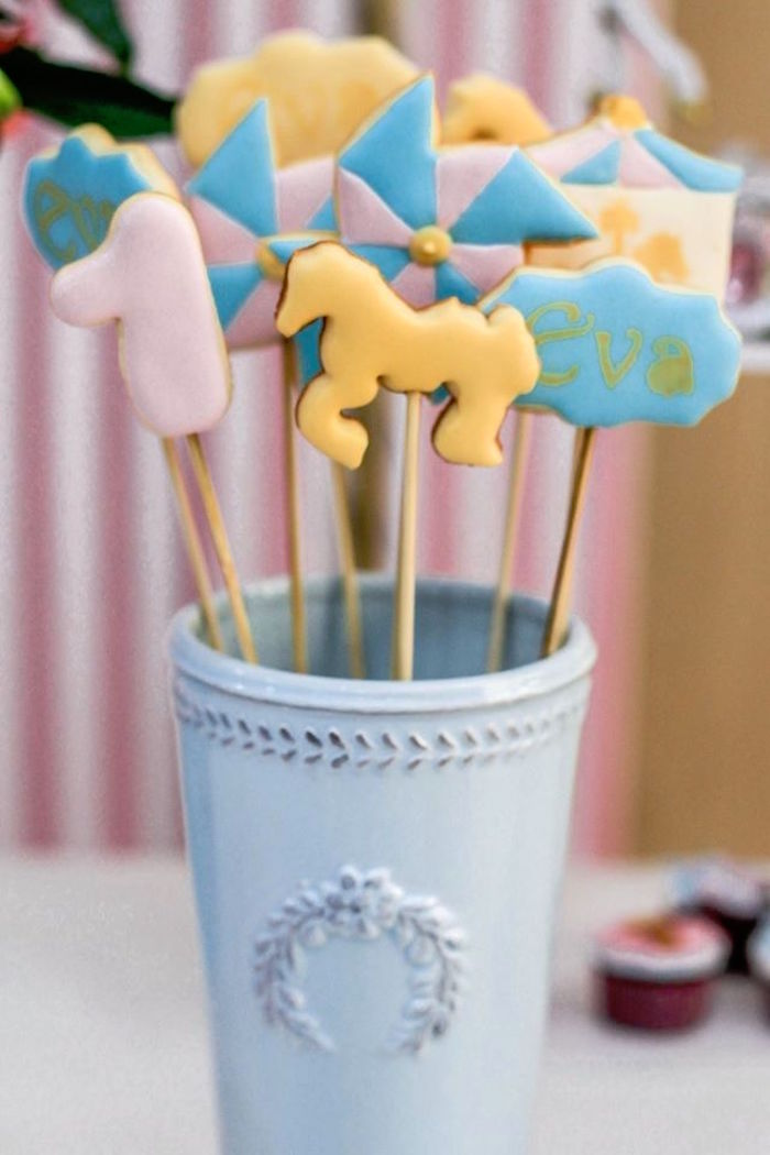 Cookie Pops from a Vintage Carousel Birthday Party via Kara's Party Ideas - KarasPartyIdeas.com (29)