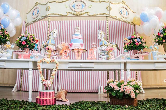 Dessert Table from a Vintage Carousel Birthday Party via Kara's Party Ideas - KarasPartyIdeas.com (27)