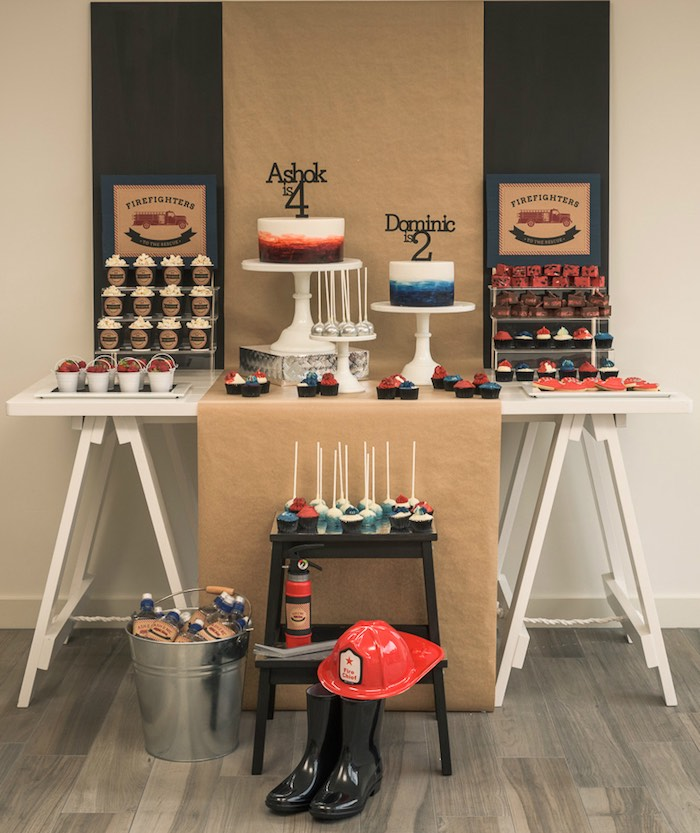 Dessert Table from a Vintage Fire Truck Themed Birthday Party via Kara's Party Ideas   KarasPartyIdeas.com   The Place for All Things PARTY! (35)