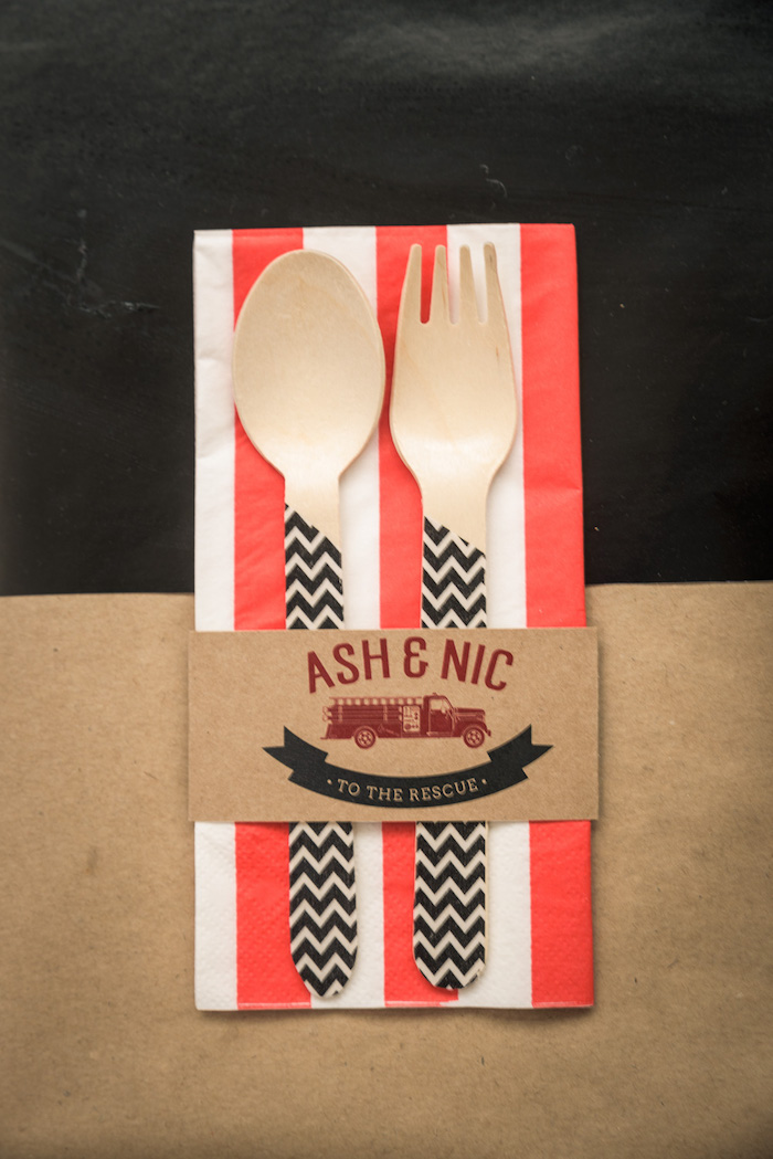 Utensil Pack from a Vintage Fire Truck Themed Birthday Party via Kara's Party Ideas   KarasPartyIdeas.com   The Place for All Things PARTY! (11)