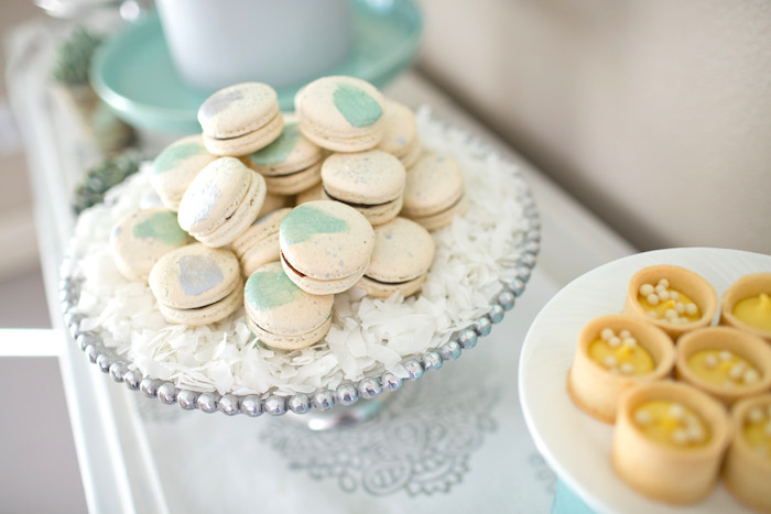 Macarons from a Watercolor Baby Sprinkle via Kara's Party Ideas KarasPartyIdeas.com (24)