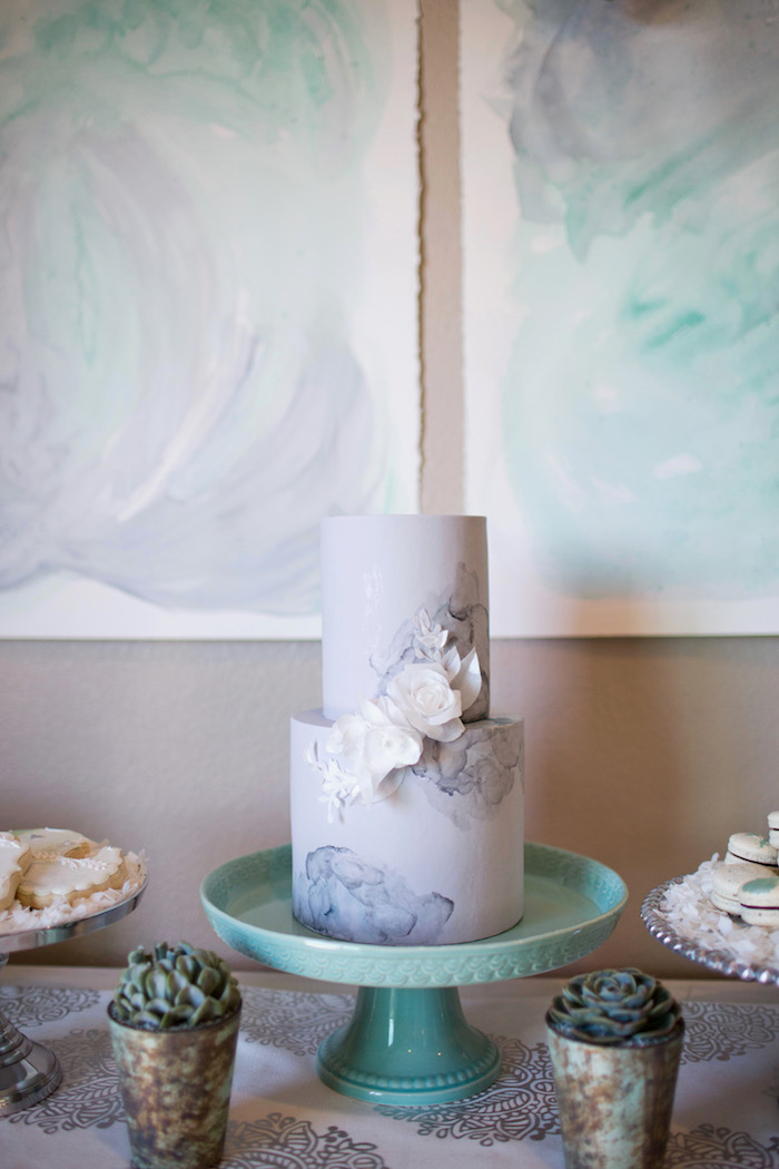 Cake from a Watercolor Baby Sprinkle via Kara's Party Ideas KarasPartyIdeas.com (23)