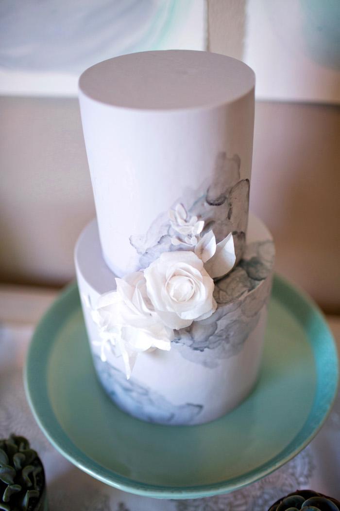 Cake from a Watercolor Baby Sprinkle via Kara's Party Ideas KarasPartyIdeas.com (22)