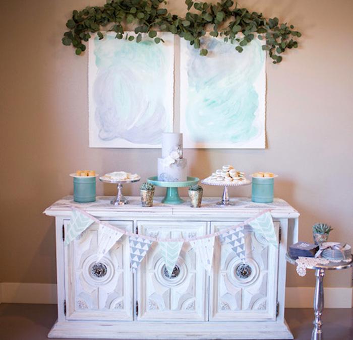 Sweet Table from a Watercolor Baby Sprinkle via Kara's Party Ideas KarasPartyIdeas.com (20)