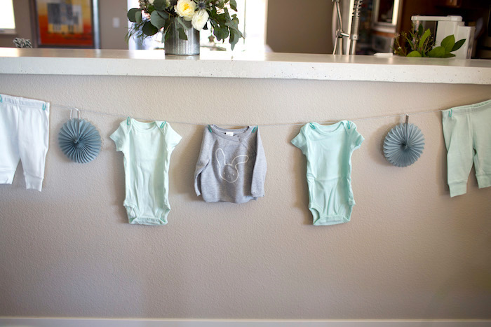 Infant Clothes Banner from a Watercolor Baby Sprinkle via Kara's Party Ideas KarasPartyIdeas.com (13)