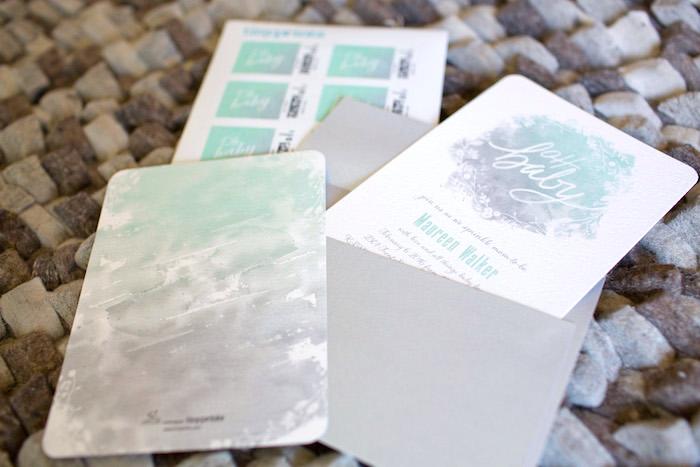 Invitation + Stationery from a Watercolor Baby Sprinkle via Kara's Party Ideas KarasPartyIdeas.com (12)