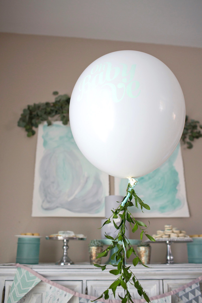 Balloon from a Watercolor Baby Sprinkle via Kara's Party Ideas KarasPartyIdeas.com (9)
