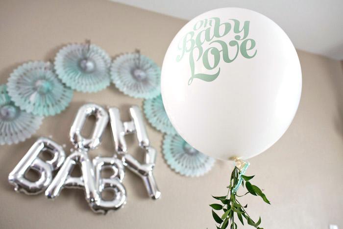 Balloon + Backdrop from a Watercolor Baby Sprinkle via Kara's Party Ideas KarasPartyIdeas.com (7)