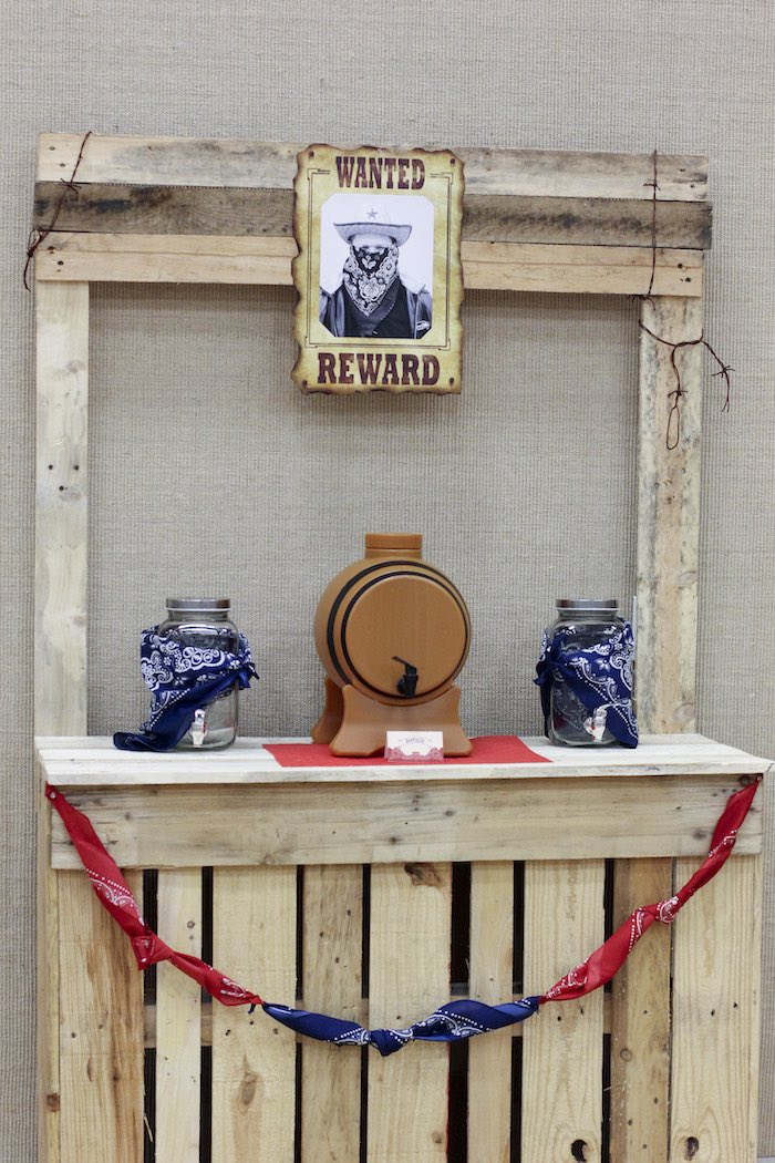 Drink Station from a Western Themed Cub Scout Blue & Gold Banquet via Kara's Party Ideas | KarasPartyIdeas.com (44)