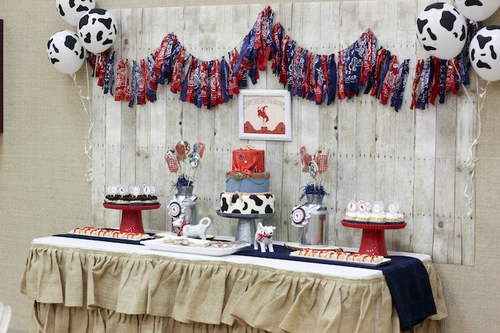 Popular Sweet Table from a Western Themed Cub Scout Blue u Gold Banquet via Kara us Party Ideas
