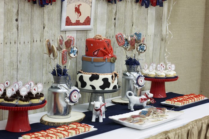 Sweet Table Details from a Western Themed Cub Scout Blue u0026 Gold Banquet via Karau0027s Party & Karau0027s Party Ideas Western Themed Cub Scout Blue u0026 Gold Banquet ...
