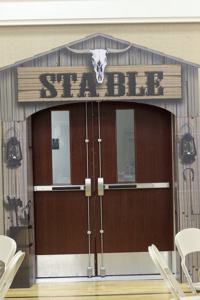 Stable Entrance + Exit Standee from a Western Themed Cub Scout Blue & Gold Banquet via Kara's Party Ideas | KarasPartyIdeas.com (34)
