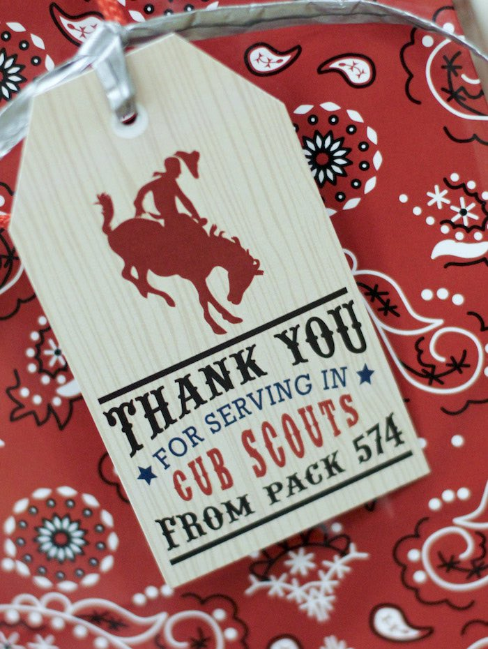 Favor Bag Tag from a Western Themed Cub Scout Blue & Gold Banquet via Kara's Party Ideas | KarasPartyIdeas.com (30)