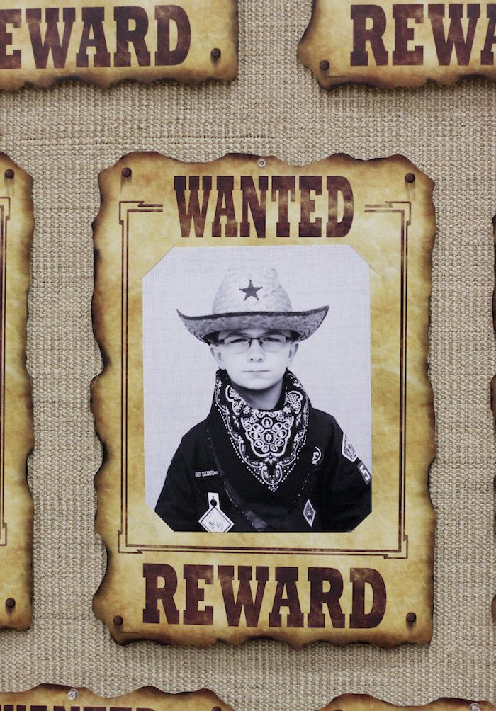 Wanted Scout Poster/Sign from a Western Themed Cub Scout Blue & Gold Banquet via Kara's Party Ideas | KarasPartyIdeas.com (29)