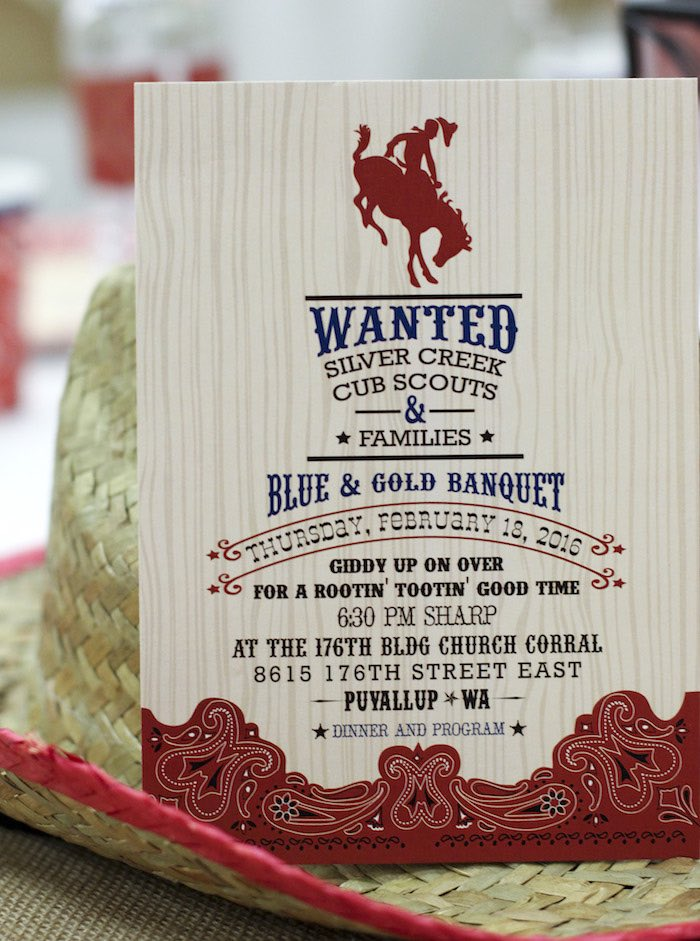 Invitation from a Western Themed Cub Scout Blue & Gold Banquet via Kara's Party Ideas | KarasPartyIdeas.com (27)