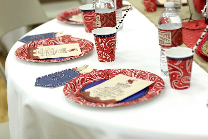 Place Settings from a Western Themed Cub Scout Blue & Gold Banquet via Kara's Party Ideas | KarasPartyIdeas.com (26)