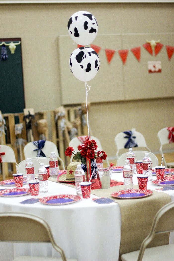 Guest Table from a Western Themed Cub Scout Blue & Gold Banquet via Kara's Party Ideas | KarasPartyIdeas.com (52)