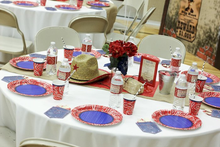 Guest Table from a Western Themed Cub Scout Blue & Gold Banquet via Kara's Party Ideas | KarasPartyIdeas.com (24)