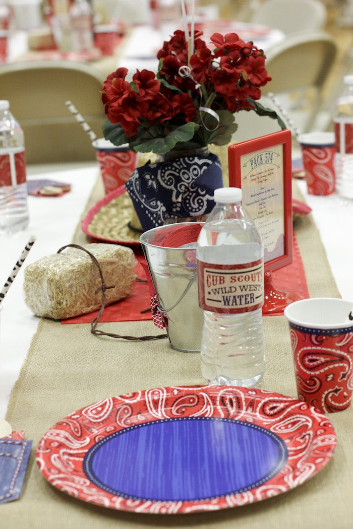 Guest Tablescape from a Western Themed Cub Scout Blue & Gold Banquet via Kara's Party Ideas | KarasPartyIdeas.com (23)