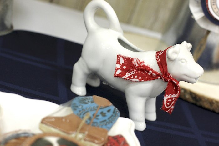 Ceramic Cow from a Western Themed Cub Scout Blue & Gold Banquet via Kara's Party Ideas | KarasPartyIdeas.com (22)