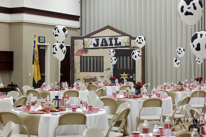 Partyscape + Guest Tables from a Western Themed Cub Scout Blue & Gold Banquet via Kara's Party Ideas | KarasPartyIdeas.com (18)