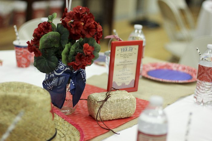 Cub Scout Christmas Party Ideas Part - 31: Guest Table Centerpieces From A Western Themed Cub Scout Blue U0026 Gold  Banquet Via Karau0027s Party