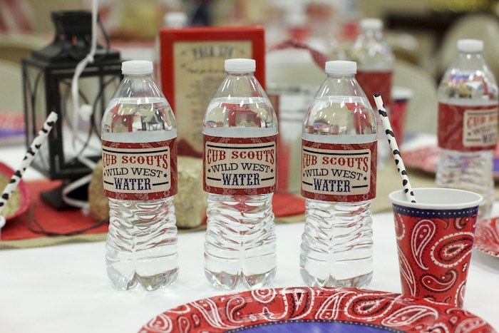 Water Bottles from a Western Themed Cub Scout Blue & Gold Banquet via Kara's Party Ideas | KarasPartyIdeas.com (15)