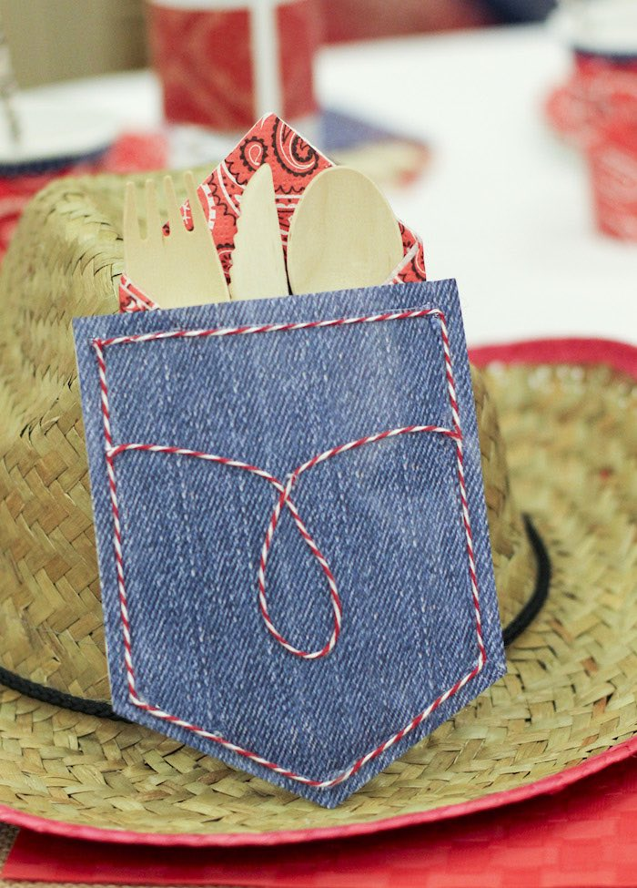Pocket Square Utensil Pack from a Western Themed Cub Scout Blue & Gold Banquet via Kara's Party Ideas | KarasPartyIdeas.com (14)