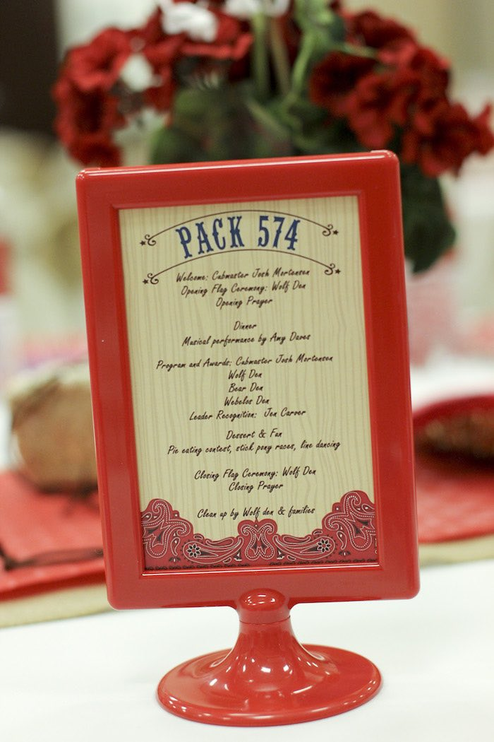 Stationery + Program Details from a Western Themed Cub Scout Blue & Gold Banquet via Kara's Party Ideas | KarasPartyIdeas.com (13)