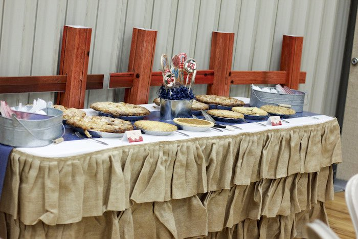 Pie Table from a Western Themed Cub Scout Blue & Gold Banquet via Kara's Party Ideas | KarasPartyIdeas.com (9)