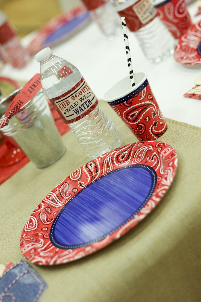 Place Setting from a Western Themed Cub Scout Blue & Gold Banquet via Kara's Party Ideas | KarasPartyIdeas.com (8)