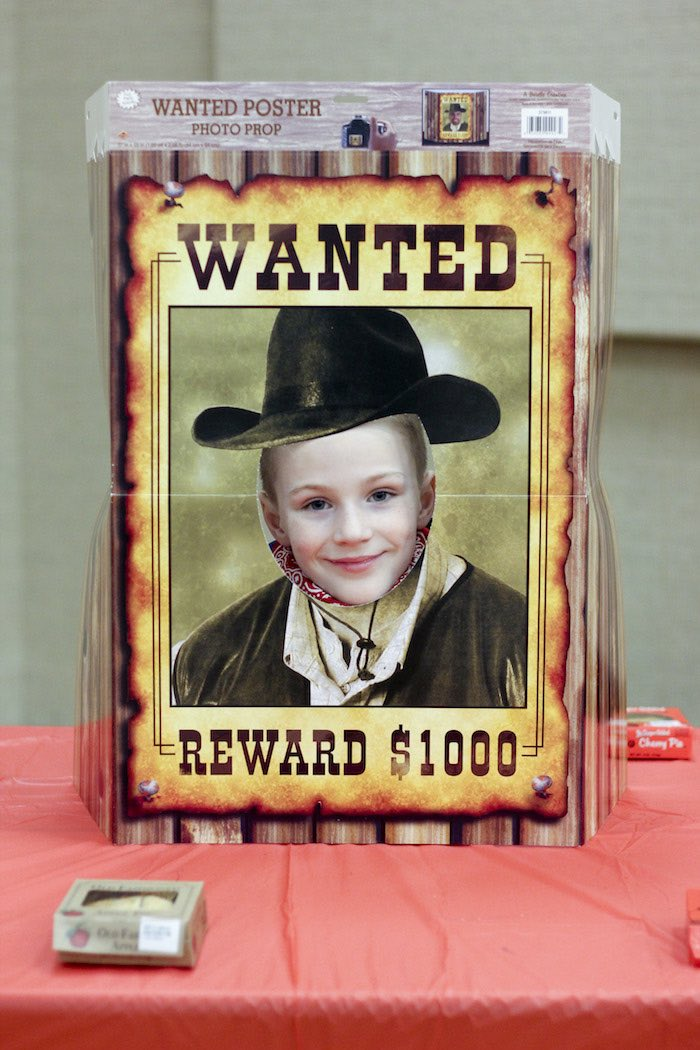 WANTED Photo Op Board from a Western Themed Cub Scout Blue & Gold Banquet via Kara's Party Ideas | KarasPartyIdeas.com (7)