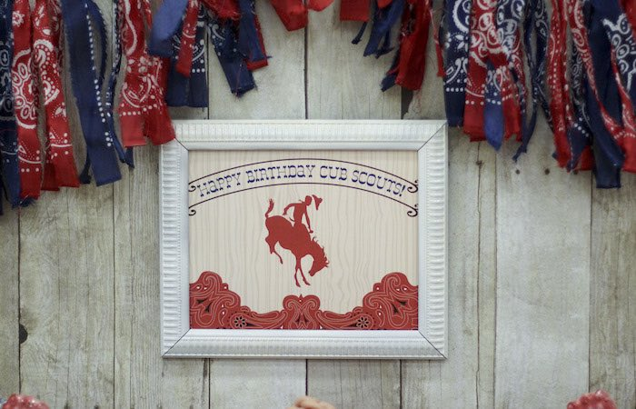 Framed Sign + Stationery from a Western Themed Cub Scout Blue & Gold Banquet via Kara's Party Ideas | KarasPartyIdeas.com (47)