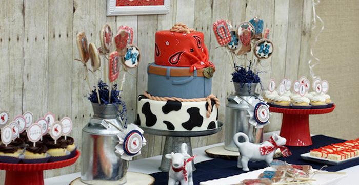 Dessert Table Details from a Western Themed Cub Scout Blue & Gold Banquet via Kara's Party Ideas | KarasPartyIdeas.com (1)