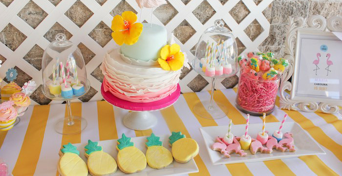 Dessert Table Details from a Flamingo pineapple themed birthday party via Kara's Party Ideas | KarasPartyIdeas.com (1)