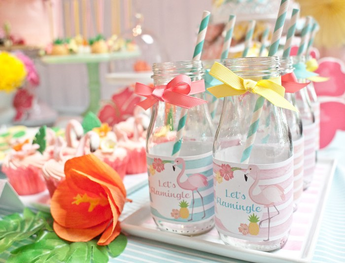 Drink Bottles from a Spring Flamingo Birthday Party via Kara's Party Ideas - KarasPartyIdeas.com (9)