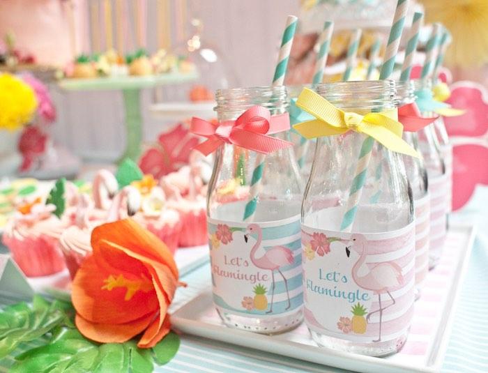 Drink Bottles from a Spring Flamingo Birthday Party via Kara's Party Ideas - KarasPartyIdeas.com (9)