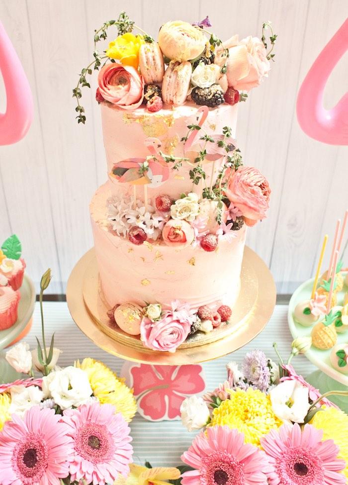 Cake from a Spring Flamingo Birthday Party via Kara's Party Ideas - KarasPartyIdeas.com (6)