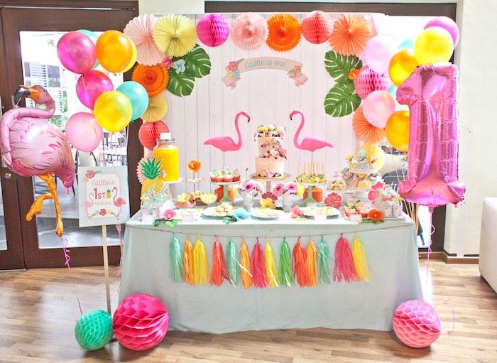 Dessert Table from a Spring Flamingo Birthday Party via Kara's Party Ideas - KarasPartyIdeas.com (5)