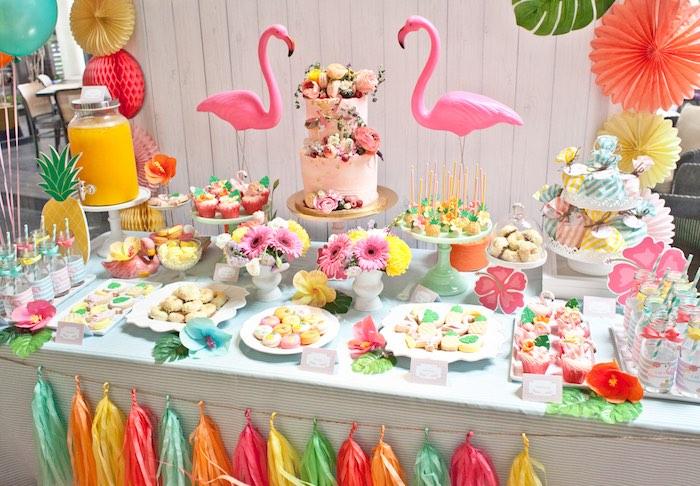 Dessert Table Details from a Spring Flamingo Birthday Party via Kara's Party Ideas - KarasPartyIdeas.com (3)