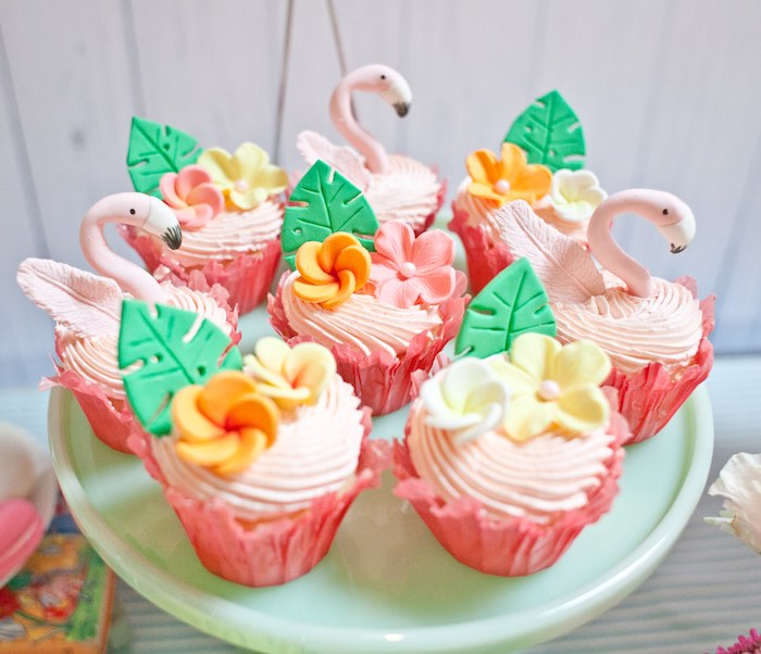 Cupcakes from a Spring Flamingo Birthday Party via Kara's Party Ideas - KarasPartyIdeas.com (13)