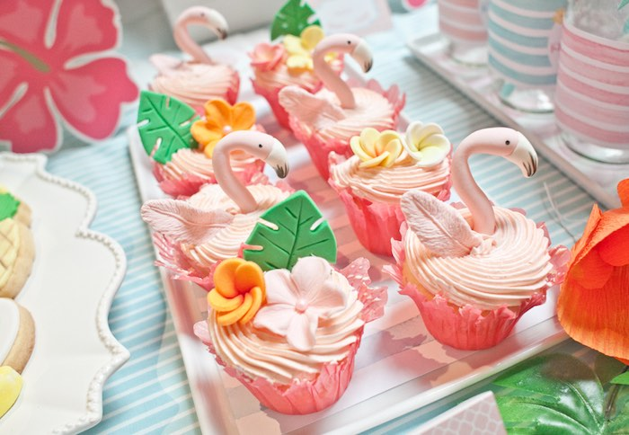 Cupcakes from a Spring Flamingo Birthday Party via Kara's Party Ideas - KarasPartyIdeas.com (11)