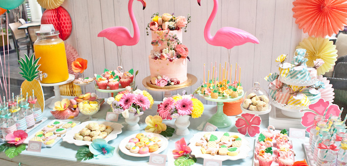 Dessert Table Details from a Spring Flamingo Birthday Party via Kara's Party Ideas - KarasPartyIdeas.com (2)