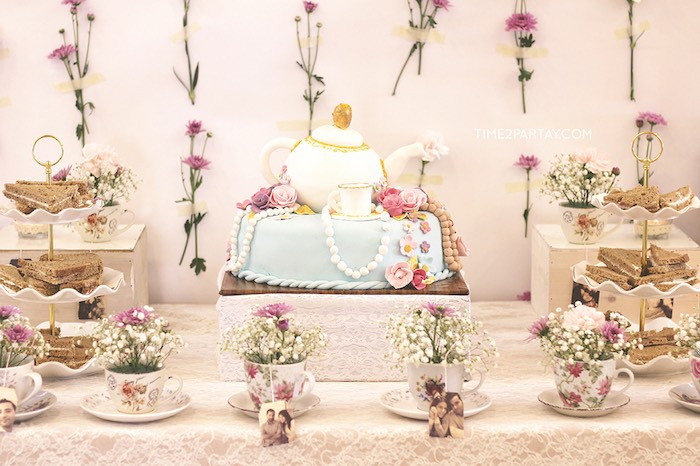 cake display from an afternoon tea bridal shower via karas party ideas karaspartyideascom