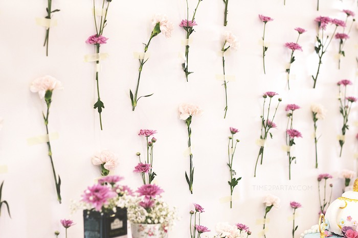 Flower Backdrop from an Afternoon Tea Bridal Shower via Kara's Party Ideas KarasPartyIdeas.com (27)