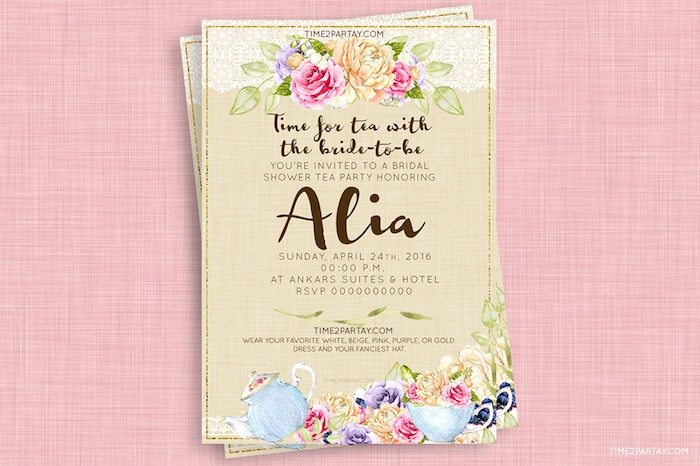 Invitation from an Afternoon Tea Bridal Shower via Kara's Party Ideas KarasPartyIdeas.com (6)