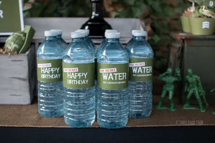 Water bottles from an Army Themed Birthday Party via Kara's Party Ideas | KarasPartyIdeas.com- The place for all things Party! (44)