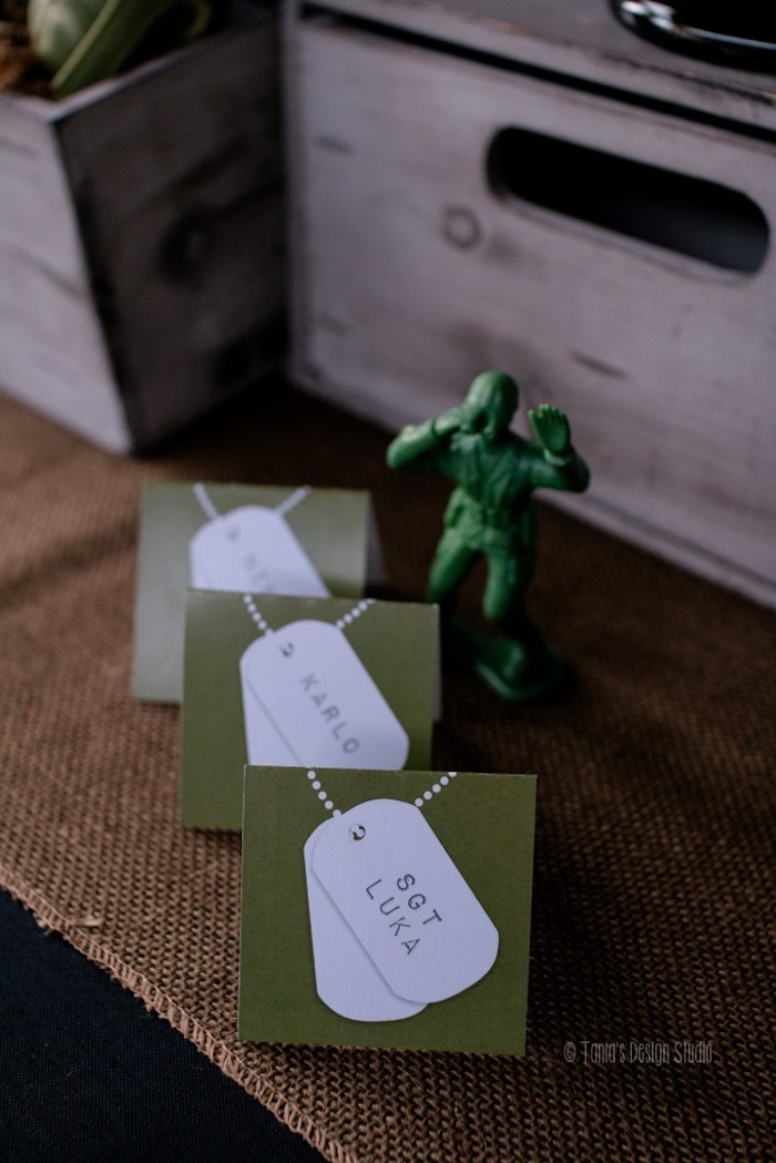 Army tag place cards from an Army Themed Birthday Party via Kara's Party Ideas | KarasPartyIdeas.com- The place for all things Party! (42)