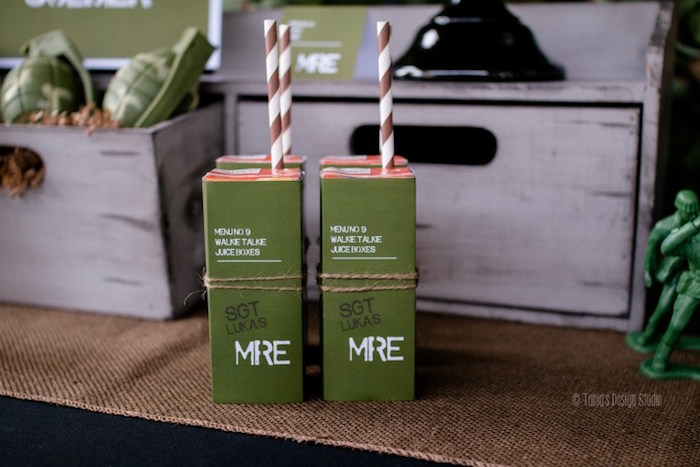 Army-inspired juice boxes from an Army Themed Birthday Party via Kara's Party Ideas | KarasPartyIdeas.com- The place for all things Party! (40)